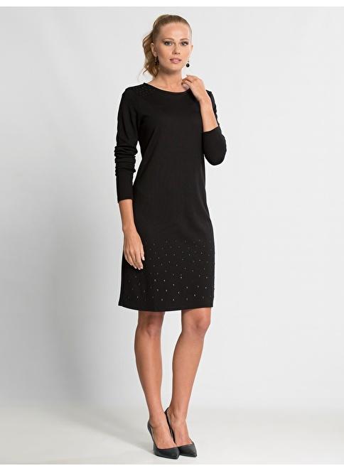LC Waikiki Uzun Kollu Düz Elbise Siyah